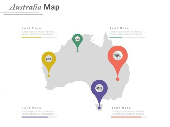 Australia Map With Four Location Pointers Powerpoint Slides