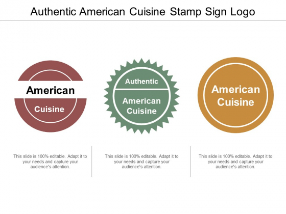Authentic American Cuisine Stamp Sign Logo Ppt PowerPoint Presentation File Graphics Template