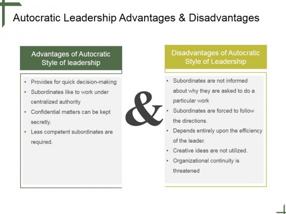 Autocratic Leadership Advantages And Disadvantages Ppt PowerPoint Presentation Layouts Slide 1