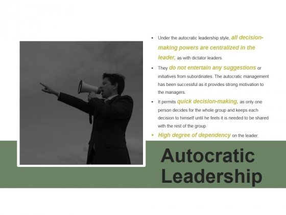 Autocratic Leadership Ppt PowerPoint Presentation Show