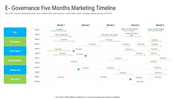 Automated Government Procedures E Governance Five Months Marketing Timeline Inspiration PDF