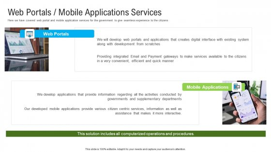 Automated Government Procedures Web Portals Mobile Applications Services Infographics PDF
