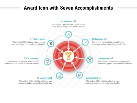 Award Icon With Seven Accomplishments Ppt PowerPoint Presentation Professional Outline