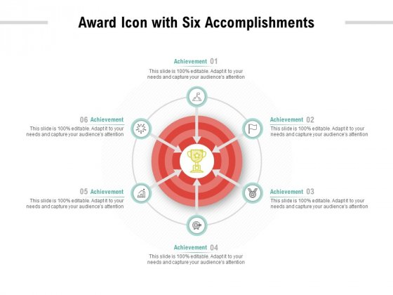 Award Icon With Six Accomplishments Ppt PowerPoint Presentation Pictures Portfolio