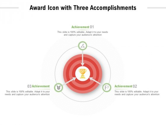 Award Icon With Three Accomplishments Ppt PowerPoint Presentation Model Portfolio