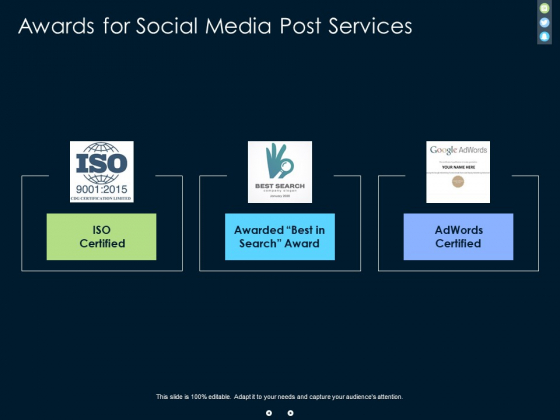 Awards For Social Media Post Services Ppt PowerPoint Presentation Infographic Template Graphic Images