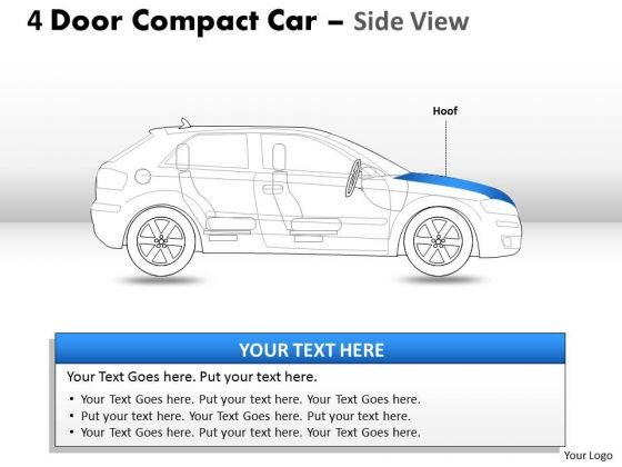 Abstract 4 Door Blue Car Side View PowerPoint Slides And Ppt Diagram Templates