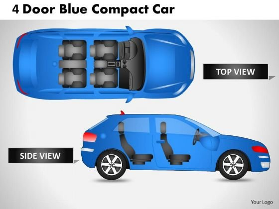 Abstract 4 Door Blue Car Top View PowerPoint Slides And Ppt Diagram Templates