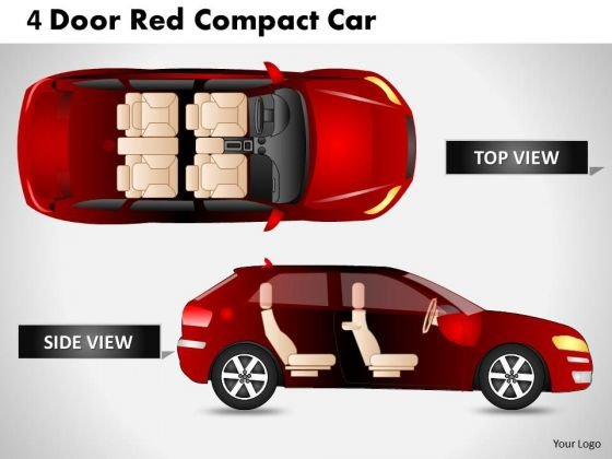 Abstract 4 Door Red Car Side View PowerPoint Slides And Ppt Diagram Templates