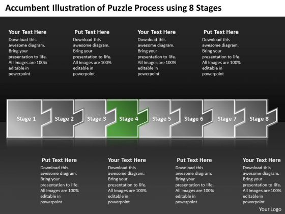 Accumbent Illustration Of Puzzle Process Using 8 Stages Flow Charting PowerPoint Slides