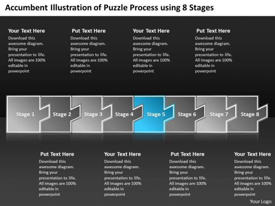 Accumbent Illustration Of Puzzle Process Using 8 Stages Online Flowchart PowerPoint Slides