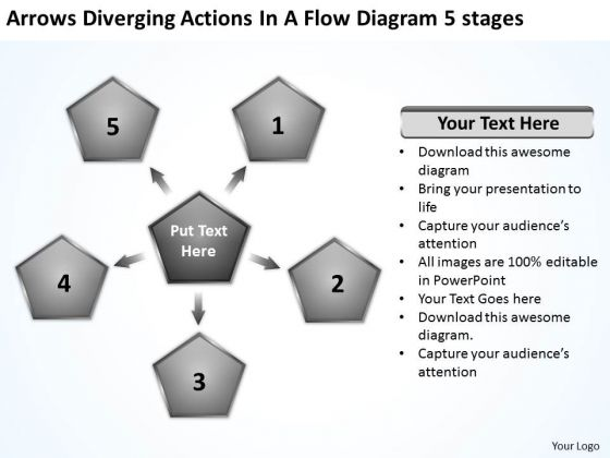 Actions In Flow Diagram 5 Stages Circular Layout Network PowerPoint Templates