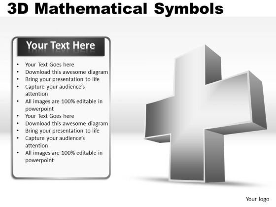 Addition Plus 3d Mathematical Symbols PowerPoint Slides And Ppt Diagram Templates