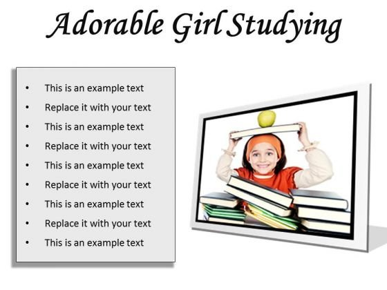 Adorable Girl Studying Education PowerPoint Presentation Slides F