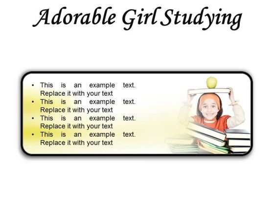 Adorable Girl Studying Education PowerPoint Presentation Slides R