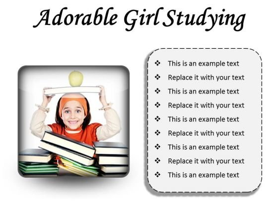 Adorable Girl Studying Education PowerPoint Presentation Slides S