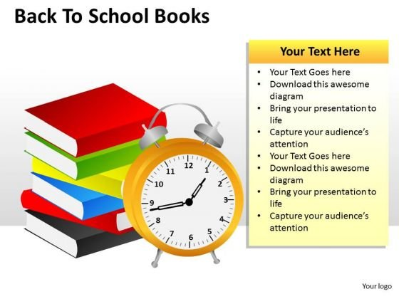 Alarm Clock Books Back To School PowerPoint Templates And Back To Schools Ppt Slides