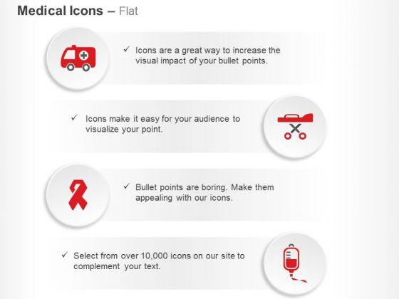 Ambulance Stretcher Aids Ribbon Blood Bank Ppt Slides Graphics