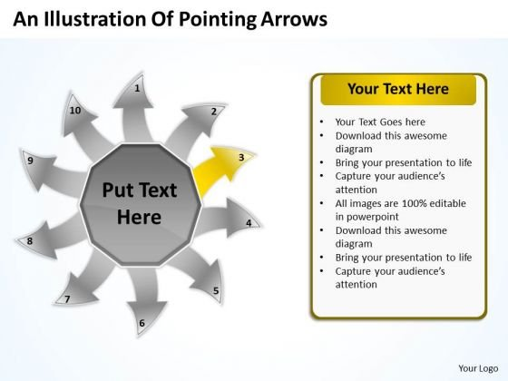 An Illustration Of Pointing Arrows Cycle Process Diagram PowerPoint Templates