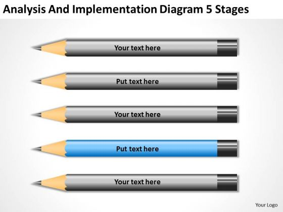 Analysis And Implementation Diagram 5 Stages How To Write Business Plan PowerPoint Templates