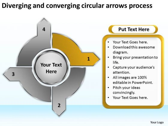 And Converging Circular Arrows Process Motion PowerPoint Templates
