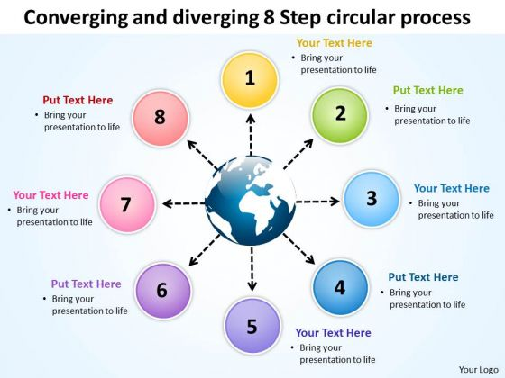 And Diverging 8 Step Circular Process Relative Cycle Arrow Network PowerPoint Slides