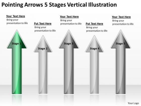 Applications Of Parallel Processing Arrows 5 Stages Vertical Illustration PowerPoint Slides