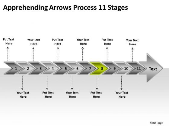 Apprehending Arrows Process 11 Stages Business Planning Flow Chart PowerPoint Templates