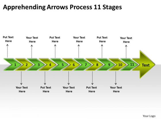 Apprehending Arrows Process 11 Stages Tech Support Business PowerPoint Slides