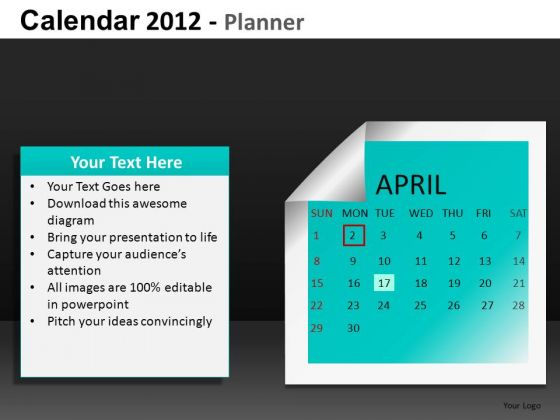 April 2012 Calendar PowerPoint Slides