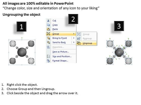arrow_4_stages_converging_process_flow_circular_network_powerpoint_slides_2