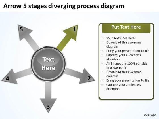 Arrow 5 Stages Diverging Process Diagram Circular Flow PowerPoint Slides