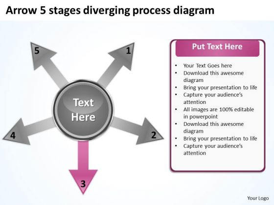 Arrow 5 Stages Diverging Process Diagram Circular Network PowerPoint Templates