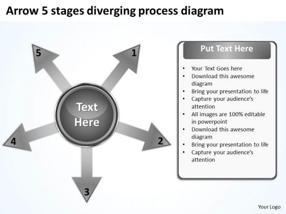 Arrow 5 Stages Diverging Process Diagram Circular PowerPoint Slides