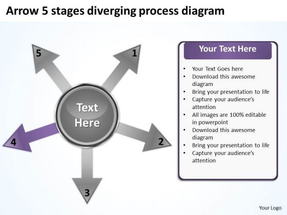 Arrow 5 Stages Diverging Process Diagram Ppt Relative Cycle PowerPoint Slides