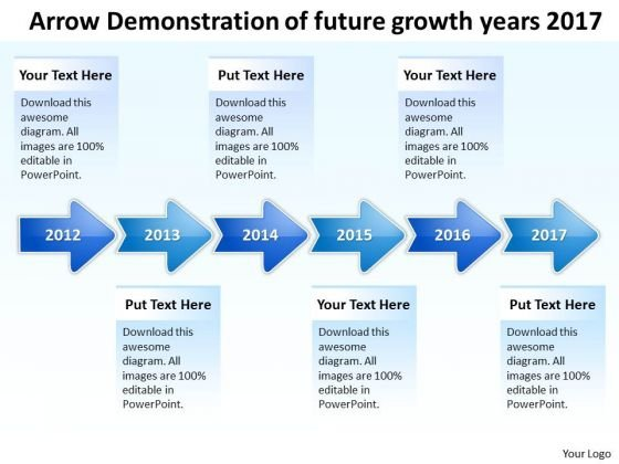 Arrow Demonstration Of Future Growth Years 2017 PowerPoint Templates Ppt Slides Graphics
