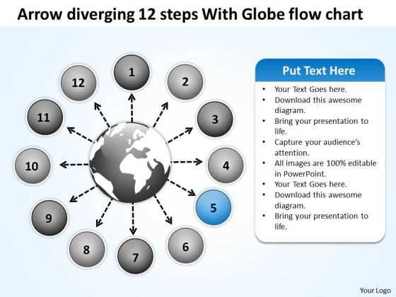 Arrow Diverging 12 Steps With Globe Flow Chart Circular Motion PowerPoint Slides
