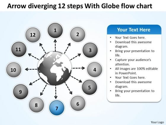 Arrow Diverging 12 Steps With Globe Flow Chart Circular PowerPoint Slides