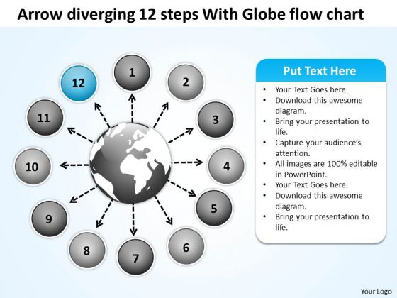 Arrow Diverging 12 Steps With Globe Flow Chart Circular PowerPoint Templates