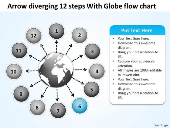 Arrow Diverging 12 Steps With Globe Flow Chart Cycle Diagram PowerPoint Templates