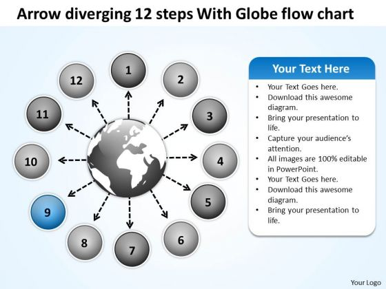 Arrow Diverging 12 Steps With Globe Flow Chart Cycle Spoke Diagram PowerPoint Slides