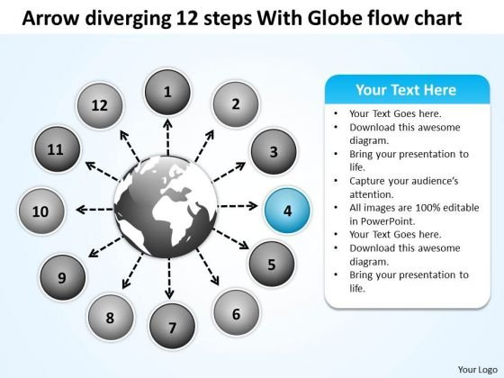 Arrow Diverging 12 Steps With Globe Flow Chart Pie Diagram PowerPoint Slides
