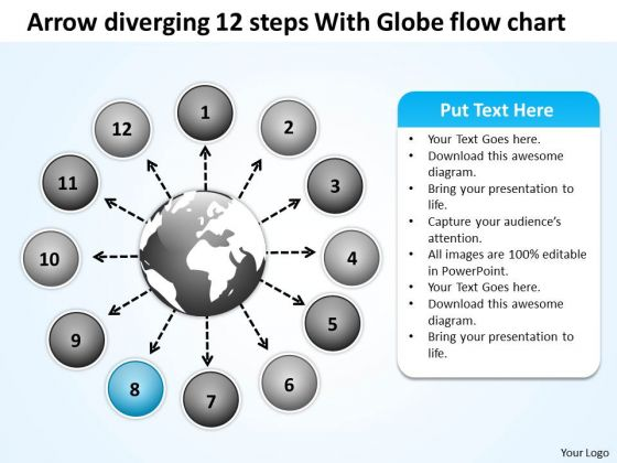 Arrow Diverging 12 Steps With Globe Flow Chart Pie Process PowerPoint Templates