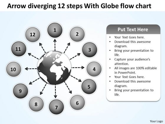 Arrow Diverging 12 Steps With Globe Flow Chart Ppt Circular Network PowerPoint Slides