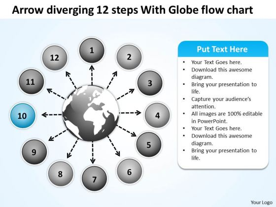 Arrow Diverging 12 Steps With Globe Flow Chart Target Network PowerPoint Templates