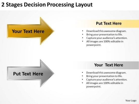Arrow For PowerPoint 2 Stages Decision Processing Layout Templates