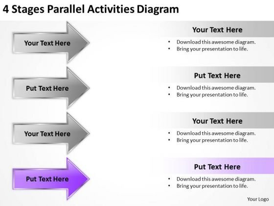 Arrow For PowerPoint 4 Stages Parallel Activities Diagram Ppt Templates