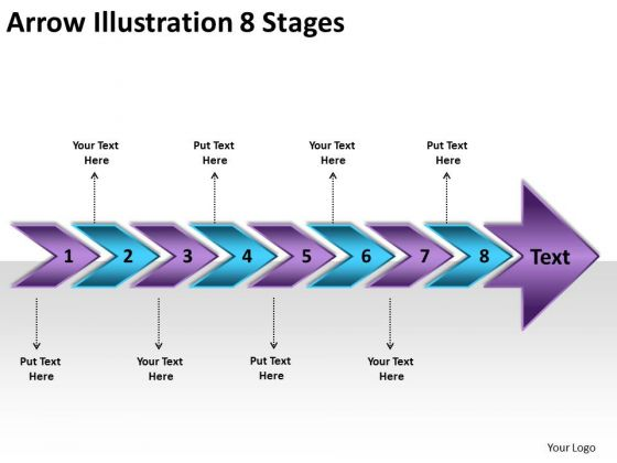 Arrow Illustration 8 Stages PowerPoint Flow Chart Slides