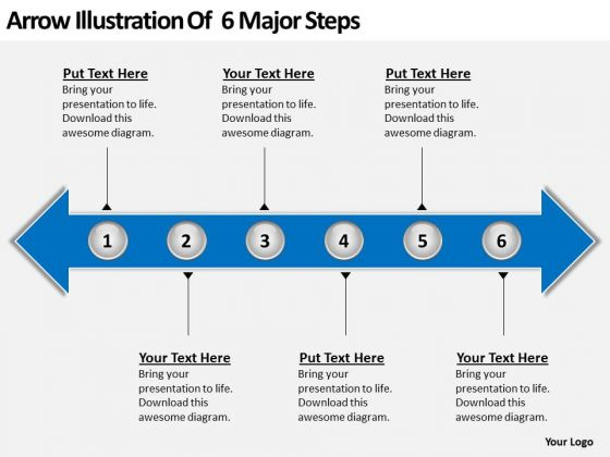 Arrow Illustration Of 6 Major Steps PowerPoint Templates Ppt Slides Graphics