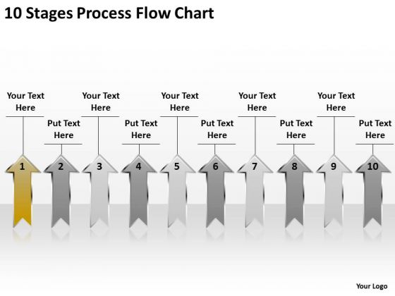 Arrow In PowerPoint 10 Stages Process Flow Chart Ppt Templates